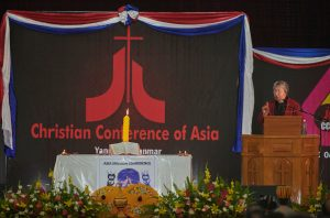 The Rev. Diana Tana, the vice moderator of the Christian Conference of Asia, preaches during the opening session of the Asia Mission Conference in Yangon, Myanmar, on October 12, 2017.